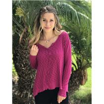 XS Anthropologie Left of Center Fuchsia Pink Full Sleeve Cotton Blend Top 316907