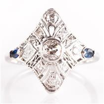 Vintage 1920's Platinum Diamond & Sapphire Engagement / Cocktail Ring .74ctw