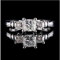 Platinum Princess Cut Three-Stone Diamond Engagement Ring 3.35ctw