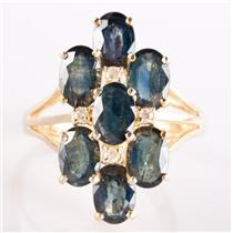 14k Yellow Gold Oval Cut Denim Sapphire & Diamond Cluster Cocktail Ring 4.94ctw