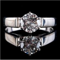 14k White Gold Round Cut Diamond Solitaire Engagement Ring .94ct