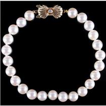 Blue Lagoon Mikimoto 14k Yellow Gold Cultured Pearl & Diamond Bracelet 7.5""