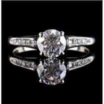 14k White Gold Round Cut Diamond Solitaire Engagement Ring W/ Accents 1.075ctw