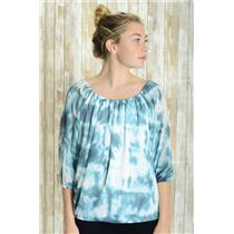 Sz 6 INC International Concepts Teal Tie Dye Peasant Blouse Chiffon Top Elastic