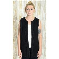 M Anthropologie Hazel Black Sleeveless Wool Blend Open Front Vest w/Crochet Lace