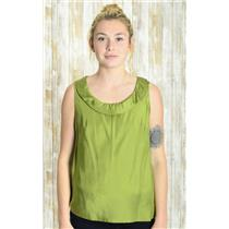 Sz S Banana Republic Green Satin Sleeveless 100% Silk Ruffle Detail Neck Blouse