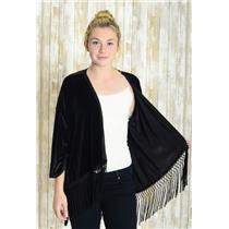 Sz M Show Me Your Mumu Black Velvet Open Front Tassel Hem Kimono Sleeve Cardigan