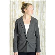 M Frenchi Ladies Gray Notched Collar Blazer Jacket Single Button Menswear Style