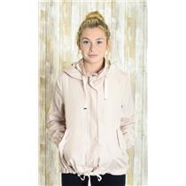 Sz M Zara Basic Blush Pink Outerwear Zip & Snap Front Hooded Rain & Wind Jacket