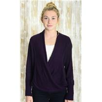 Sz M Angel Of The North Anthropologie Purple Knit Snap Closure Wrap Hem Cardigan