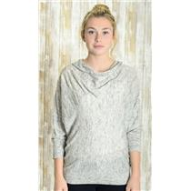 Sz M Moth Anthropologie Heather Gray Dolman Sleeve Thin Knit Funnel Neck Sweater