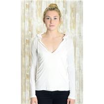 M J. Crew White Long Sleeve V-Neck Cotton Jersey Knit Drawstring Hood Thin Top