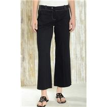 Sz 8 Trina Turk Black Cotton Blend White Contrast Stitching Straight Leg Pants