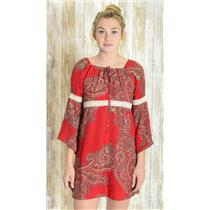Size S Voom by Joy Han Red Paisley Short Boho Dress/Tunic w/Lace Detail D-8552