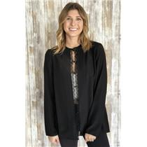 Sz 8 Tory Burch Black Silk Pleated Bib Button Down Blouse With Picot Trim
