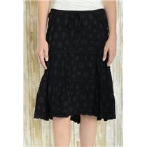 S Max Studio Black Polka Dot Asymmetrical Ruffles Hi-Low Hem A-Line Calf Skirt