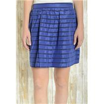 6 J. Crew Navy Blue Stripe Metallic Detail Cotton Silk Blend Pocket Mini Skirt