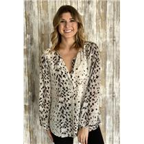 L Joie Black/White Purine Print Silk Long Sleeve Semi-Sheer Button Front Blouse