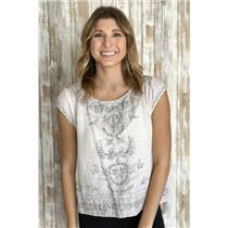 Sz L Joie Amal Knit Cap Sleeve Open Knit Fringe Detail Stretch Top in Canvas
