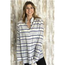 L Equipment Margaux Stripe Cotton Button Down Shirt in Natural White/ Periwinkle
