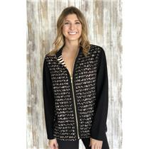 Sz 2 Zenergy By Chico's Black Zip Front Lace Overlay Long Sleeve Stretch Jacket