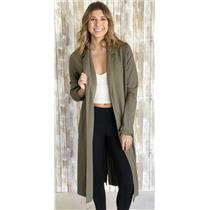 Sz L Monrow Olive Green Collared Open Front Long Sleeve Ponte Knit Long Cardigan