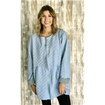 Sz L Carole Hochman Design Light Blue Front Zip Textured Quilted Robe Jacket