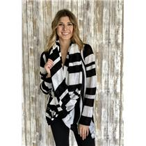 Sz L Alice and Olivia Black/White Stripe Drape Front Wraparound Sweater Cardigan