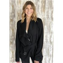 Sz L Guest Editor Anthropologie Black Drape Neck Collar Belted Open Front Jacket
