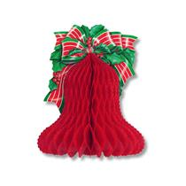 1995 Beistle 13 inch Tissue Honeycomb Hanging Christmas Bell Party Decoration