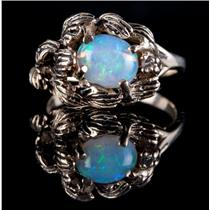 Vintage 1960's 14k Yellow Gold Oval Cut Opal & Diamond Leaf Style Ring 1.14ctw