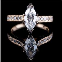 14k Yellow Gold Marquise Cut Diamond Solitaire Engagement Ring W/ Accents 1.21ct
