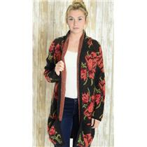 M Free People Flower Power Red/Black Floral Thick Knit Mid Thigh Length Cardigan