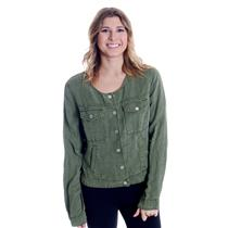 NWT Sz M Sanctuary Anthropologie Army Green Silver Snap Button Crew Neck Jacket