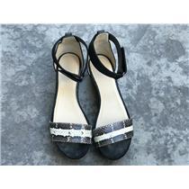EU 40/ US 9.5 JIMMY CHOO Neat Snakeskin and Grosgrain Sandals in Natural/Black