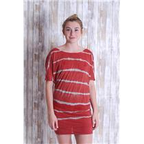 XS Gypsy 05 Women's Jersey Tie dye Cap Sleeve Mini Dress in Orange/grey Stripe