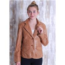 S Scully Tan Butter Soft Leather Jacket w/ Pattern and Whip Stitch Detailing