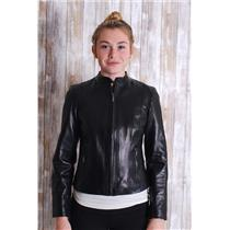 Sz XS Cole Haan Black Lambskin Leather  Zip Front Snap Button Neck Lined Jacket