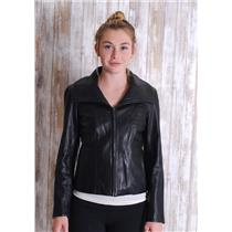 Sz XS Cole Haan Black Lambskin Leather Zip Front Wide Collar Panel Front Jacket