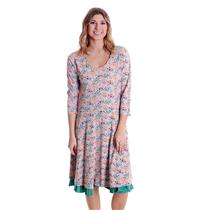 NWT L Matilda Jane Down On The Farm Gray Floral Print Dress w/ Contrast Underlay