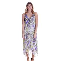 14 NWT Click Collection Handkerchief Crepe Chiffon Green Purple Leaf Print Dress