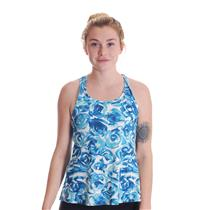 NWT S EleVen By Venus Williams Camilla Blue Rose Print Racerback Race Day Tank