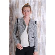 2 Banana Republic Black/White Tweed Open Front Jacket w/ Vegan Leather Detailing