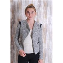 2 Banana Republic Black/White Tweed Open Front Jacket w/ Vegan Leather Detailing