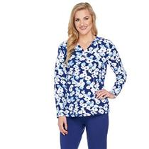 Denim & Co. Active Size 2X Navy/White Floral Print Long Sleeve V Neck Top