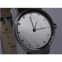 Skagen Watch SKW2688 Ladies Petite Silver, Black Leather Strap. Glass Crystal