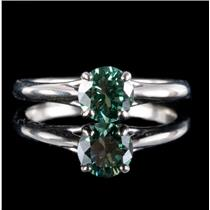 14k White Gold Round Cut Green Diamond Solitaire Engagement Ring .75ct