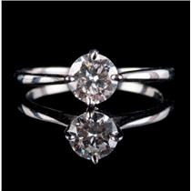 18k White Gold Old European Cut Diamond Solitaire Engagement Ring .56ct