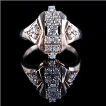 14k Yellow Gold Round Cut Diamond Cluster Cocktail Ring .52ctw
