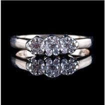 14k Yellow Gold Round Cut Diamond Cluster Ring .30ctw